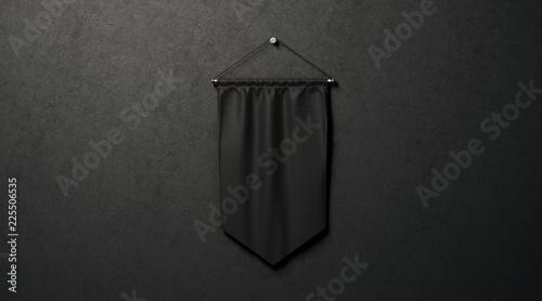 Blank black rhombus pennant mockup, near dark wall, 3d rendering