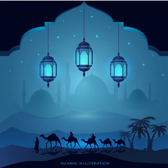 Arabian land by riding on camels at night accompanied by sparkles of stars, mosques, laterns for illustrative Islamic background