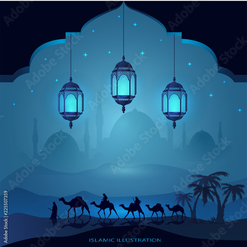 Fototapeta Arabian land by riding on camels at night accompanied by sparkles of stars, mosques, laterns for illustrative Islamic background obraz