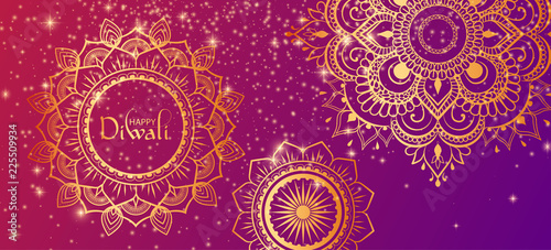 Photographie Happy Diwali Hindu gradient banner with golden traditional ornament