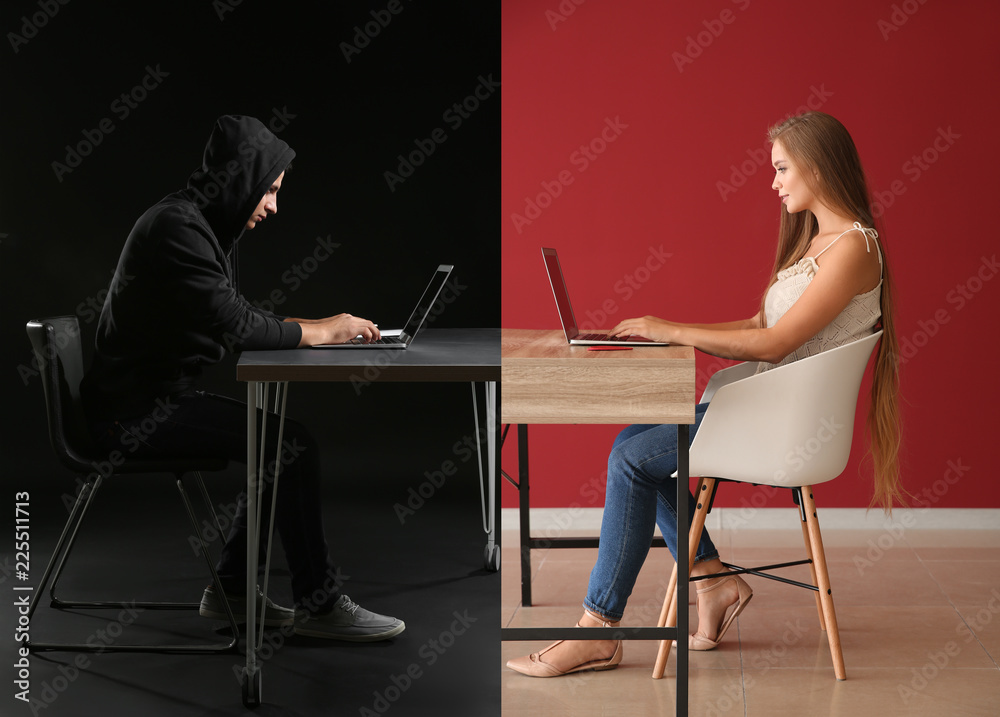 Fototapeta Young woman having online date with fake boyfriend. Concept of internet fraud