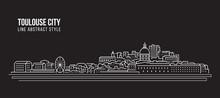 Cityscape Building Line Art Vector Illustration Design - Toulouse City