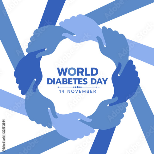 Stampa su Tela World Diabetes Day Awareness banner with blue hand hold hand around circle frame