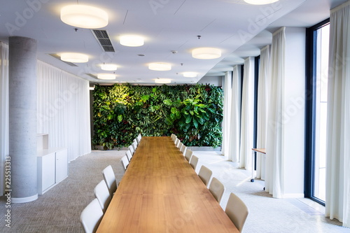 Fotoposter Planten Living green wall, vertical garden indoors with flowers and plants under artificial lighting in meeting boardroom, modern office building