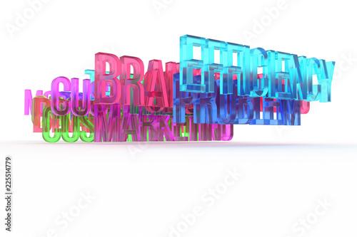 Staande foto Positive Typography Efficiency, business conceptual colorful 3D words. Rendering, typography, digital & positive.