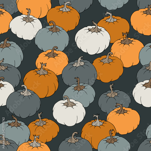 Vector Seamless Ornament With Orange Gray And White
