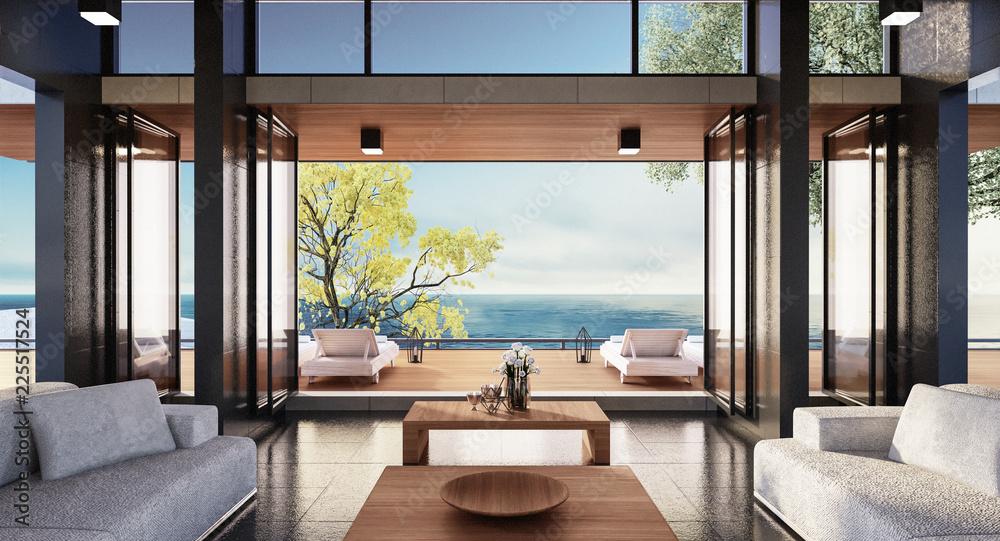 Fototapeta Beach luxury living on Sea view / 3d rendering