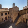 San Gimignano Italy July 2nd 2015 : Entrance and courtyard to the Musei Civici in San Gimignano, Tuscany, Italy