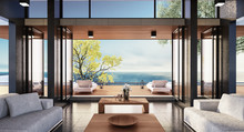 Beach Luxury Living On Sea View / 3d Rendering