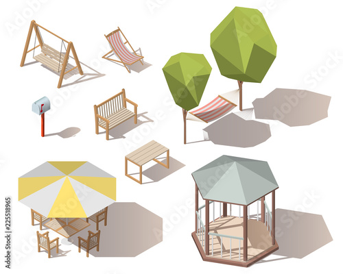Terrific Set Of Isometric Vector Outdoor Objects Wooden Table Mailbox Forskolin Free Trial Chair Design Images Forskolin Free Trialorg