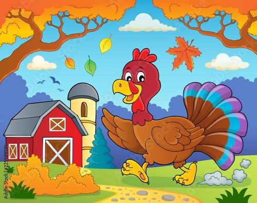 Fotobehang Voor kinderen Running turkey bird theme image 4