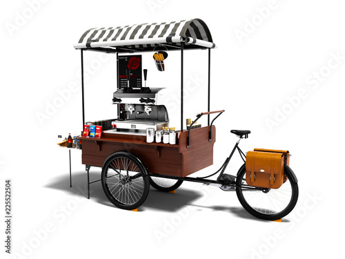 Fotografía  Modern cart with coffee machine 3d render on white background with shadow