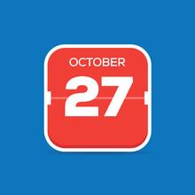 October 27 Calendar Flat Icon