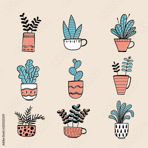 Foto auf AluDibond Boho-Stil Collection of hand drawn plants in a pot. Vector illustrations in sketch doodle style.