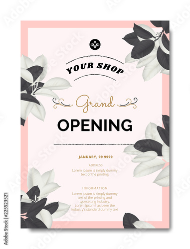 Fototapeta Botanical Grand Opening Invitation Card Template Design Black And White Ficus Elastica Rubber Plant On Pink Background Vintage Style