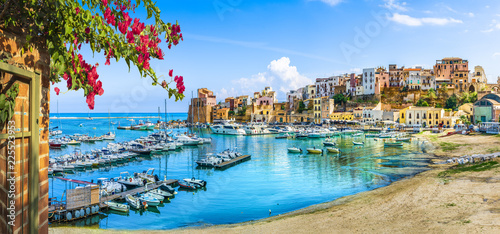 Sicilian port of Castellammare del Golfo, amazing coastal village of Sicily isla Canvas Print