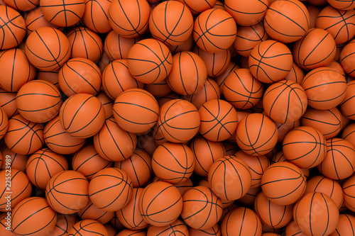 3d rendering of many orange basketball balls lying in an endless pile seen from the top.