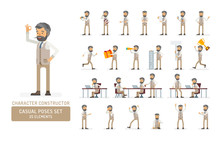 Vector Young Adult Hipster Man In Vest Ready-to-use Character Casual Poses Set In Flat Style. Full Length, Gestures, Emotions, Front, Side, Back View.