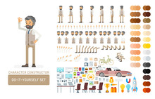 Vector Young Adult Hipster Man In Vest Do-it-yourself Creation Kit. Full Length, Gestures, Emotions - All Character Constructor Elements For Building Your Own Design For Infographic Illustrations.