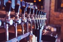 Beer Taps In Beer Bar