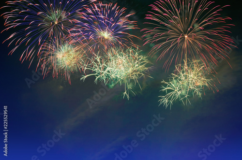 Fotografia  Fireworks celebration and the twilight sky background.