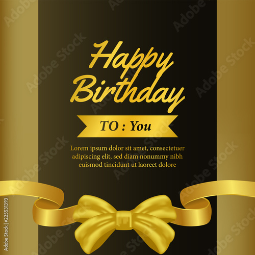 Birthday Invitation With Gold Ribbon Banner Gift Template