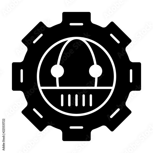 Gear with robot solid icon  Mechanical gear with robot