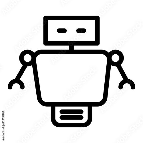 Robot line icon  Cyborg vector illustration isolated on