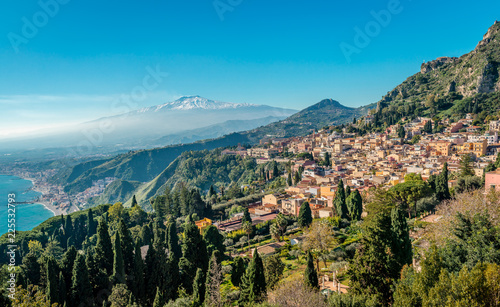 фотография A panoramic view of Taormina, Giardini Naxos and Mount Etna, in Sicily, Italy