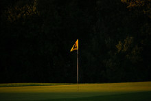 Yellow Golf Course Flag In Dra...