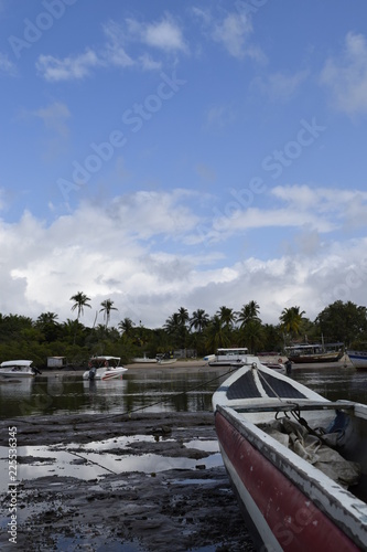 Fotografie, Obraz  canoe and fishing boat, island of Boipeba, Cairu, Bahia, Brazil