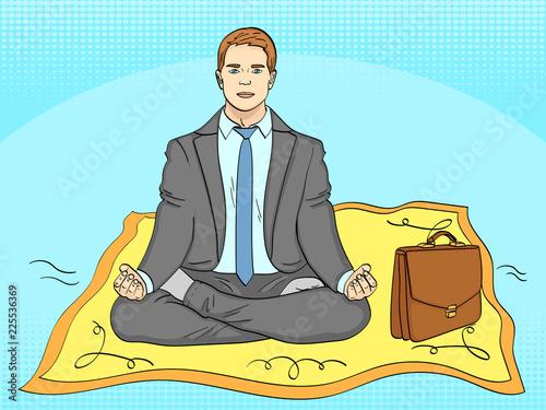 Fotobehang Pop Art Pop art background. Businessman on the carpet, meditation. man flies to work. Imitation of comics style. Vector