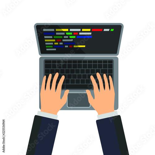 Fotografia  Man typing on the keyboard and making program code