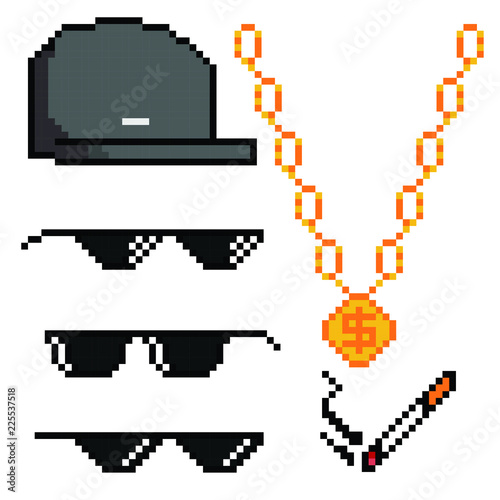Cuadros en Lienzo Boss or gangster pixelated sunglasses, gold chain, cap and cigarette