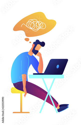 Developer working with laptop at desk and thinking vector illustration Canvas Print