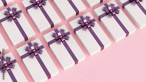 Small luxury white gift boxes with purple ribbon, on pink background Wallpaper Mural