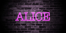 First Name Alice In Pink Neon On Brick Wall