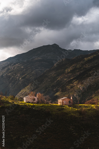 Spoed Foto op Canvas Cappuccino Mountain huts houses