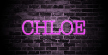First Name Chloe In Pink Neon On Brick Wall