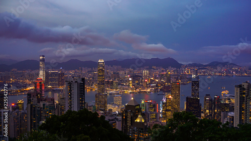 Spoed Foto op Canvas Stad gebouw Hong Kong - April 2016: Skyline of Hong Kong world economic coutry in Asia