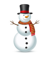 Snowman Isolated On White Back...