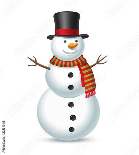 Obraz na płótnie Snowman isolated on white background. Vector illustration