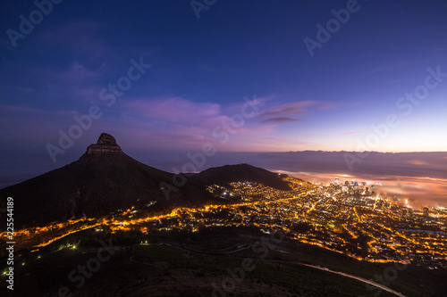 Foto op Canvas Zwart Cape Town at night
