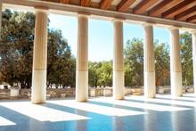 Ancient Greek Columns And Gardens