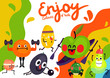 Cartoon Funny Fruits Illustration