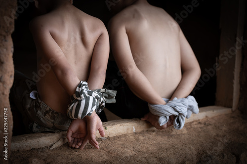 Vászonkép  Human trafficking bounded hand boy, Victims of human trafficking,Violence agains