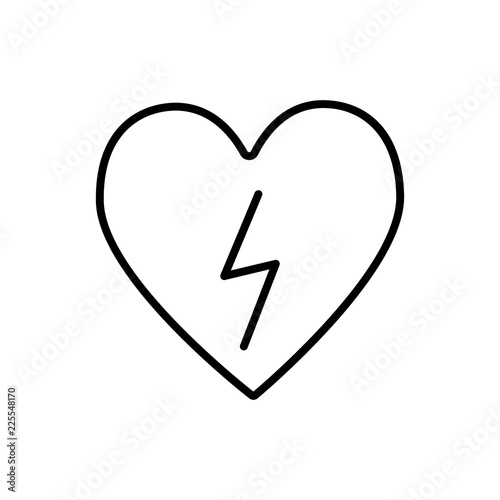 Heart With Lightning Line Icon Heart With Lightning Bolt Vector Illustration Isolated On White Defibrillator Outline Style Design Designed For Web And App Eps 10 Buy This Stock Vector And Explore
