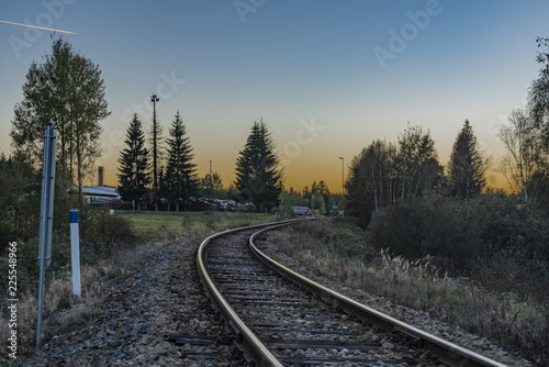 Railroad track near Zbytiny station in sunset time
