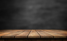 Wooden Table With Dark Blurred...