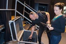 Sound Team Preparing On The Venue Area